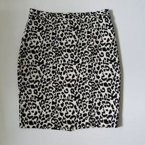 ANN TAYLOR Animal Print Pencil Skirt - Blk/Crm 2P